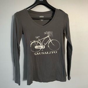 Hipster Vintage Bicycle Long Sleeve T-shirt NWOT